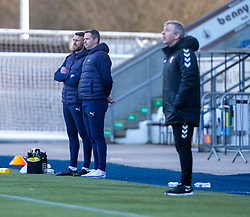 20MAR21 Falkirk's head coachs Lee Miller and David McCracken. Falkirk 2 v 0 Montrose, Scottish Football League Division One game played 20/3/2021 at The Falkirk Stadium.