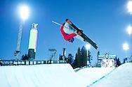 Roz Groenewoud during Women's Ski Superpipe Practice at 2014 X Games Aspen at Buttermilk Mountain in Aspen, CO. ©Brett Wilhelm/ESPN