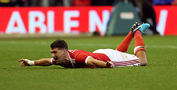 07 January 2018 FA Cup 3rd round Nottingham - Nottingham Forest v Arsenal - Eric Lichaj celebrates the opening Forest.<br /> (photo by Mark Leech)