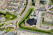 Nederland, Flevoland, Gemeente Urk, 07-05-2015; nieuwbouwwijk van Urk met gereformeerde kerk Rehoboth Urk (Gereformeerde Kerken vrijgemaakt).<br /> New neighborhood with church of orthodox protestant descent.<br /> luchtfoto (toeslag op standard tarieven);<br /> aerial photo (additional fee required);<br /> copyright foto/photo Siebe Swart
