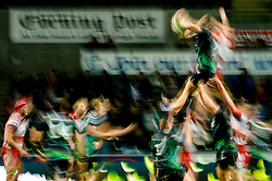 An Ospreys player is lifted at the lineout during the second half of the match - Photo mandatory by-line: Rogan Thomson/JMP - Tel: Mobile: 07966 386802 09/11/2012 - SPORT - RUGBY - Liberty Stadium - Swansea. Ospreys v Gloucester - LV= Cup