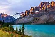 Dawn light on the Crowfoot Glacier above Bow Lake, Banff National Park, Alberta, Canada