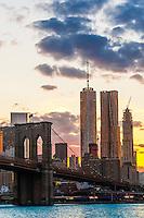 Manhattan Bridge (One World Trade Center and Beekman Tower in background), New York, New York USA.