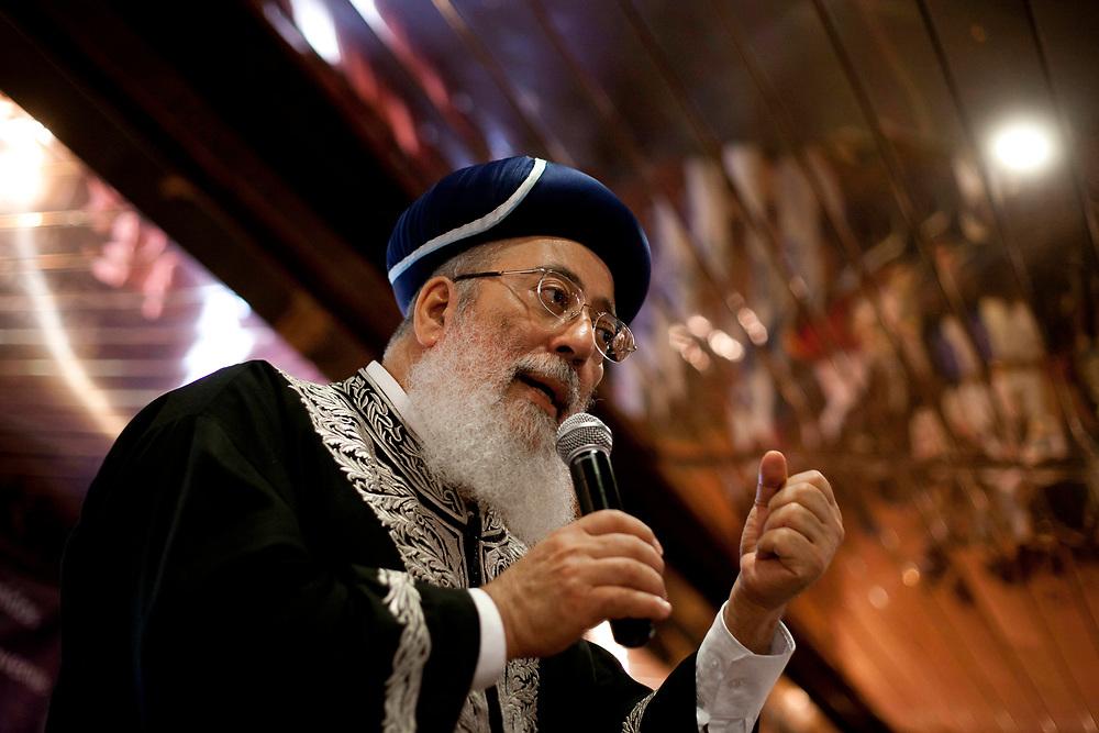 Israel's Sephardi Chief Rabbi Shlomo Moshe Amar speaks during a convention in Jerusalem, on July 26, 2011.