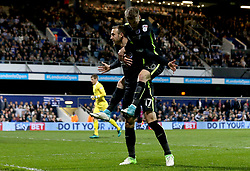 Glenn Murray of Brighton & Hove Albion celebrates with Solly March of Brighton & Hove Albion after scoring a goal to make it 1-0 - Mandatory by-line: Robbie Stephenson/JMP - 07/04/2017 - FOOTBALL - Loftus Road - Queens Park Rangers, England - Queens Park Rangers v Brighton and Hove Albion - Sky Bet Championship