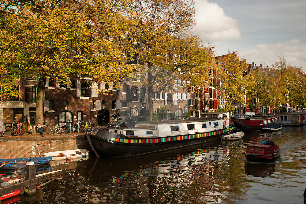Homes along Brouwersgracht canal in historic Jordaan, section in Amsterdam.