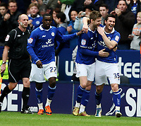 Fotball<br /> Foto: Colorsport/Digitalsport<br /> NORWAY ONLY<br /> <br /> Football<br /> nPower Championship<br /> Leicester City vs Portsmouth<br /> at The King Power Stadium<br /> Leicester City's David Nugent celebrates scoring the equalising goal<br /> 31/12/2011