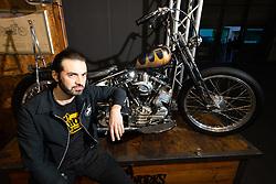 Chopworks Choppers' Francesco Frankino Torreslimare of Chivasso, Italy with his custom 1957 Harley-Davidson Panhead at Motor Bike Expo (MBE) bike show. Verona, Italy. Sunday, January 19, 2020. Photography ©2020 Michael Lichter.