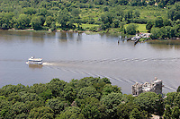 Aerial of the Becky Thatcher Cruise Boat on the Connecticut River passing Gillette Castle, it connects to Essex Steam Train at Deep River, CT.