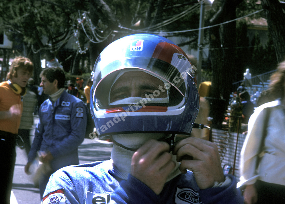 Tyrrell-Ford driver Patrick Depailler in the pits in Monaco before practice for the 1974 Grand Prix. Behind is team-mate Jody Scheckter and March team principal Max Mosley. Photo: Grand Prix Photo