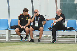 June 16, 2018 - Sochi, RUSSIA - Belgium's Thomas Meunier, KBVB-URBSFA vice-chairman Bart Verhaeghe and KBVB-URBSFA sports director Chris Van Puyvelde pictured during a training session of Belgian national soccer team the Red Devils in Sochi, Russia, Saturday 16 June 2018. The team is preparing for their first game at the FIFA World Cup 2018 next Monday. BELGA PHOTO BRUNO FAHY (Credit Image: © Bruno Fahy/Belga via ZUMA Press)