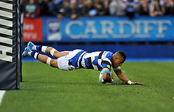 Anthony Watson (Bath) runs in a first half try - Photo mandatory by-line: Patrick Khachfe/JMP - Tel: Mobile: 07966 386802 23/05/2014 - SPORT - RUGBY UNION - Cardiff Arms Park, Cardiff - Bath Rugby v Northampton Saints - Amlin Challenge Cup Final.