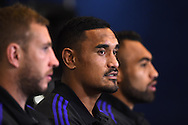 Jerome Kaino of New Zealand (c)  talks to the media.Rugby World Cup 2015 , New Zealand Allblacks player media session at the Hilton Hotel in Cardiff , South Wales on Monday 28th September 2015. The Allblacks are in Cardiff preparing for their next pool match against Georgia on Friday night.<br /> pic by  Andrew Orchard, Andrew Orchard sports photography.