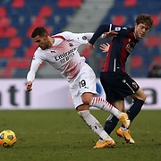 Theo Hernandez (Milan) receive a foul from Andreas Skov Olsen (Bologna)  during the Serie A Tim match between Bologna FC 1909 and AC Milan at Stadio Renato Dall'Ara on January, 30 2021 in Bologna, Italy.