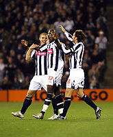 Photo: Mark Stephenson.<br /> West Bromwich Albion v Blackpool. Coca Cola Championship. 23/10/2007.West Brom's Ishmael Miller (C) celebrates his goal with team mates