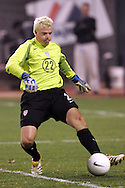 10 February 2006: U.S. goalkeeper Kevin Hartman plays the ball with his feet. The United States Men's National Team defeated Japan 3-2 at SBC Park in San Francisco, California in an International Friendly soccer match.