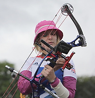 Paralympics London 2012 - ParalympicsGB - Archery Womens Individual Compound Open  30th August 2012<br />   <br /> Danielle Brown competing in the Womens Archery Individual Compound - Open Heats at the Paralympic Games in London. Photo: Richard Washbrooke/ParalympicsGB