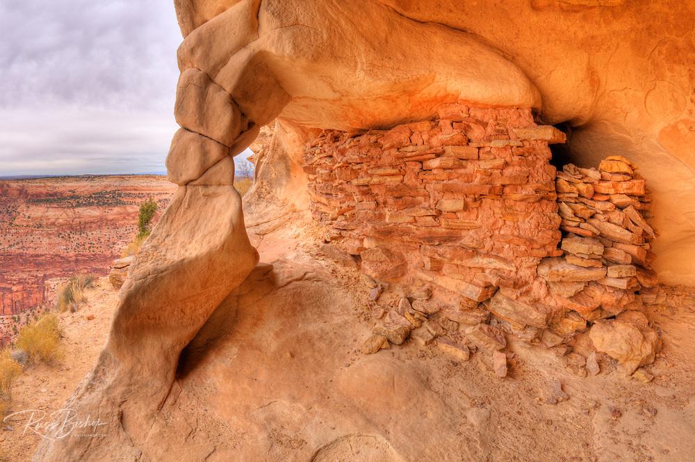 Anasazi granaries on Aztec Butte, Island in the Sky, Canyonlands National Park, Utah