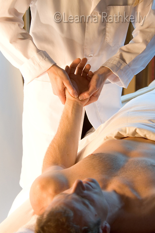 Man getting hand massage