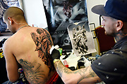 20181103/ Nicolas Celaya - adhocFOTOS/ URUGUAY/ MONTEVIDEO/ KIBON/ Convencion de tatuadores Tattooarte V en Kibon, Montevideo.<br /> En la foto: Convencion de tatuadores Tattooarte V en Kibon, Montevideo. Foto: Nicolás Celaya /adhocFOTOS
