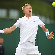 LONDON, ENGLAND - JULY 13:  Rudolf Molleker of Germany in action against George Loffhagen of Great Britain in the Boys' Singles Tournament during the Wimbledon Lawn Tennis Championships at the All England Lawn Tennis and Croquet Club at Wimbledon on July 13, 2017 in London, England. (Photo by Tim Clayton/Corbis via Getty Images)