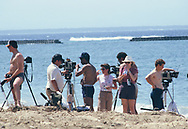White House press stakes out the beach at the hotel of President Reagan in Bali, Reagan attended an ASEAN Ministerial meeting; met with Indonesian President Soeharto and Philippine Vice President Laurel.<br />Photo by Dennis Brack