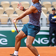 PARIS, FRANCE September 26.  Rafael Nadal of Spain during a practice match with Jannik Sinner of Italy on Court Philippe-Chatrier in preparation for the 2020 French Open Tennis Tournament at Roland Garros on September 26th 2020 in Paris, France. (Photo by Tim Clayton/Corbis via Getty Images)