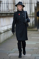 Justice Secretary Liz Truss walks through Downing Street on her way to the annual Remembrance Sunday Service at the Cenotaph memorial in Whitehall, central London, held in tribute for members of the armed forces who have died in major conflicts.