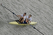 """Seville. SPAIN, 17.02.2007, GBR M2-, bow Robin BOURNE-TAYLOR and Alastair HEATHCOTE, clear the """"Puente de la Barqueta"""" [bridge] during Saturdays heats, of the FISA Team Cup, held on the River Guadalquiver course. [Photo Peter Spurrier/Intersport Images]    [Mandatory Credit, Peter Spurier/ Intersport Images]. , Rowing Course: Rio Guadalquiver Rowing Course, Seville, SPAIN,"""