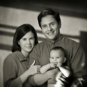 Family portrait in black and white of Rivera family.