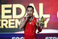 November 2, 2018 - Doha, Qatar - Ruoteng Xiao of China  with gold medal for Pommel Horse at the Aspire Dome in Doha, Qatar, Artistic FIG Gymnastics World Championships on 2 of November 2018. (Credit Image: © Ulrik Pedersen/NurPhoto via ZUMA Press)