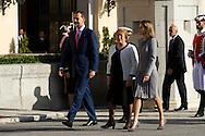 Michelle Bachelet, King Felipe VI of Spain and Queen Letizia of Spain received Michelle Bachelet Chilean President at Palacio de El Pardo on October 29, 2014 in Madrid