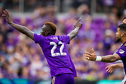 May 6, 2018 - Orlando, FL, U.S. - ORLANDO, FL - MAY 06: Orlando City defender Lamine Sane (22) reacts after scoring a goal during the soccer match between the Orlando City Lions and Real Salt Lake on May 6, 2018 at Orlando City Stadium in Orlando FL. Photo by Joe Petro/Icon Sportswire) (Credit Image: © Joe Petro/Icon SMI via ZUMA Press)
