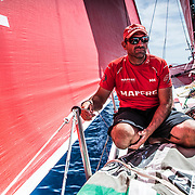 Leg 6 to Auckland, day 21 on board MAPFRE, Xabi Fernandez, mediting the situation. 27 February, 2018.