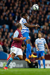 Nedum Onuoha of QPR is challenged by Gabriel Agbonlahor of Aston Villa - Photo mandatory by-line: Rogan Thomson/JMP - 07966 386802 - 07/04/2015 - SPORT - FOOTBALL - Birmingham, England - Villa Park - Aston Villa v Queens Park Rangers - Barclays Premier League.