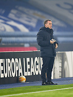 Football - 2020 / 2021 Europa League - Group G - Leicester City vs Sporting Braga - King Power Stadium<br /> <br /> Leicester City manager Brendan Rodgers makes notes during the first half.<br /> <br /> COLORSPORT/ASHLEY WESTERN