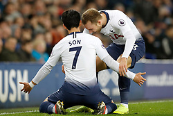 Tottenham Hotspur's Son Heung-min (left) celebrates his side's first goal of the game with team mate Christian Eriksen