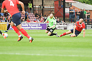Chris Rowney of Curzon Ashton (10) is fouled by. Russell Penn of York City (6) during the Vanarama National League North match between York City and Curzon Ashton at Bootham Crescent, York, England on 18 August 2018.