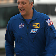"""Astronaut Mike Massimino, the first astronaut to """"Tweet"""" from space is seen at the Kennedy Space Center Thursday, July 7, 2011, in Cape Canaveral, Fla. Shuttle Atlantis is scheduled to launch on Friday, July 8 and is the 135th and final space shuttle launch for NASA..  (AP Photo/Alex Menendez)"""