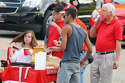 27 September 2014:  A small group of dedicated tailgaters gather before an NCAA football game between the Austin Peay Governors and the Illinois State Redbirds at Hancock Stadium in Normal IL