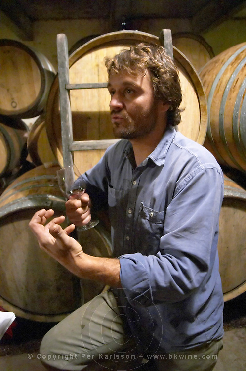 Christophe Peyrus Domaine Clos Marie. Pic St Loup. Languedoc. Barrel cellar. Owner winemaker. France. Europe.