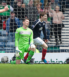 Falkirk's Blair Alson cele scoring their third goal..Half time : Hibernian 0 v 3 Falkirk, William Hill Scottish Cup Semi Final, Hampden Park..©Michael Schofield..