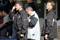Fotball<br /> Foto: SBI/Digitalsport<br /> NORWAY ONLY<br /> <br /> Cambridge United v Bristol Rovers<br /> Coca-Cola Championship football league two<br /> Abbey Stadium 09/10/2004<br /> <br /> <br /> Bristol's Management questions the refs sanity after a tackle descision.