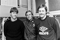 March 10, 1984 - Stockholm, SVERIGE - 840310 Fotboll, AIK: Kjell Jonevret, Rolf Zetterlund, trÅnare och Thomas Andersson..©ÊBildbyrÅ'n - 6887 (Credit Image: © BildbyrN/Bildbyran via ZUMA Wire)