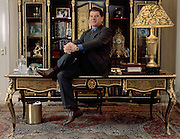 Moscow, Russia, 2001..Flamboyant businessman Vladimir Bryntsalov in his private restaurant & office. His fortune is built on the production of vodka & pharmaceuticals..