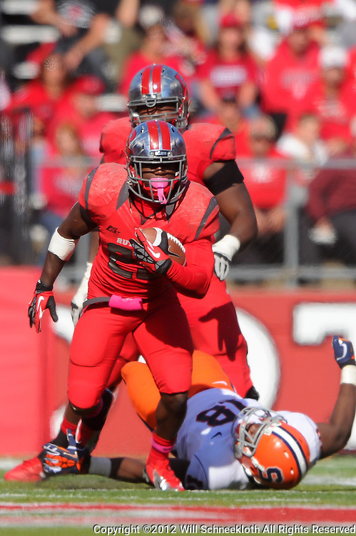 Oct 13, 2012: Rutgers Scarlet Knights running back Jawan Jamison (23) rushes during NCAA Big East college football action between the Rutgers Scarlet Knights and Syracuse Orange at High Point Solutions Stadium in Piscataway, N.J.