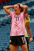 Scotlands Lisa EVANS (Arsenal WFC (ENG)) knows she came so close to taking the lead during the International Friendly match between Scotland Women and Jamaica Women at Hampden Park, Glasgow, United Kingdom on 28 May 2019.