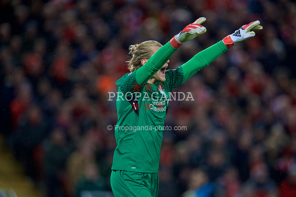 LIVERPOOL, ENGLAND - Wednesday, April 4, 2018: Liverpool's goalkeeper Loris Karius during the UEFA Champions League Quarter-Final 1st Leg match between Liverpool FC and Manchester City FC at Anfield. (Pic by David Rawcliffe/Propaganda)