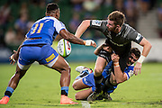 Mitchell Drummond of the BNZ Crusaders hands off in a tackle during the Canterbury Crusaders v the Western Force Super Rugby Match. Nib Stadium, Perth, Western Australia, 8th April 2016. Copyright Image: Daniel Carson / www.photosport.nz