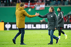 LEIPZIG, Nov. 1, 2018  Hoffenheim's head coach Julian Nagelsmann (L), who is confirmed to be new head coach of RB Leipzig in next season, shakes hands with Leipzig's head coach Ralf Rangnick (C) after the 2nd round match of German Cup between RB Leipzig and TSG 1899 Hoffenheim, in Leipzig, Germany, on Oct. 31, 2018. Leipzig won 2-0. (Credit Image: © Kevin Voigt/Xinhua via ZUMA Wire)